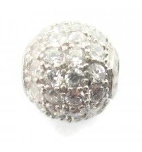 Distanziatore pallina con zirconi bianchi argento 925 rodiato 8 mm - 1 pz