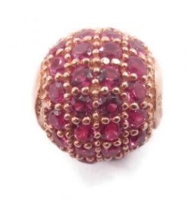 Distanziatore pallina con zirconi rossi di 8 mmargento 925 placcato oro rosè   - 1 pz