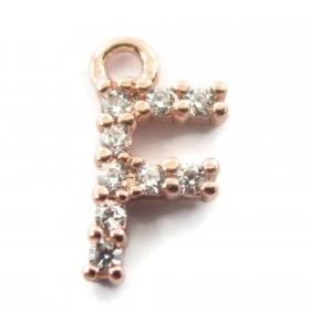 ciondolo charms iniziale lettera F zirconi bianchi placcati oro rosa 1 pz.
