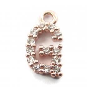 ciondolo charms iniziale lettera G zirconi bianchi placcati oro rosa 1 pz.