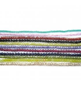 zirconi colore giallo bordeux sfaccettati di 3 mm 1 filo lungo 33 cm
