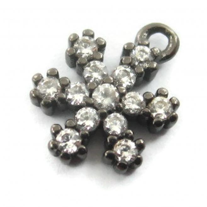 charms ciondolo fiocco di neve 9x7 mm zirconi neri argento 925 rodiato nero 1 pz