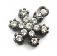charms ciondolo fiocco di neve 9x7 mm zirconi bianchi argento 925 rodiato nero 1 pz