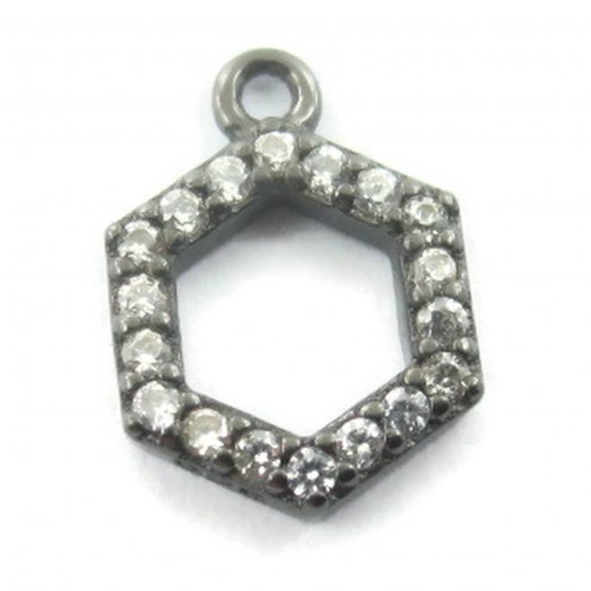 charms ciondolo esagono 10x7 mm zirconi bianchi argento 925 rodiato nero 1 pz