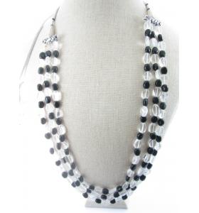 collana 3 fili pietra onice nera e cristallo di rocca montata su cordino classico orientale 48cm