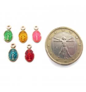 charms ciondolo esagono 10x7 mm zirconi bianchi argento 925 placcato oro rosè 1 pz