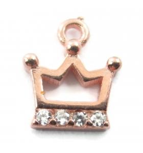 charms ciondolo corona 9x8 mm zirconi bianchi argento 925 placcato oro rosè 1 pz