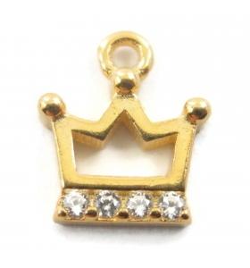 charms ciondolo corona 9x8 mm zirconi bianchi argento 925 placcato oro giallo 1 pz.