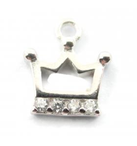 charms ciondolo corona 9x8 mm zirconi bianchi argento 925 rodiato 1 pz.