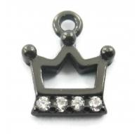 charms ciondolo corona 9x8 mm zirconi bianchi argento 925 rodiato nero 1 pz.