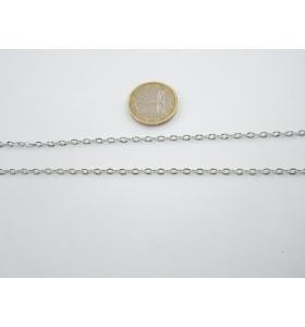 50 cm. di catena in acciaio ovalini zigrinati mm 3,5x2,8 50