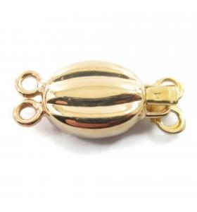 chiusura ovale sbalzata 2 fori argento 925 placcata oro giallo di 22x9 mm 1 pz.