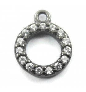 charms ciondolo tondino 10x7 mm zirconi bianchi argento 925 rodiato nero 1 pz