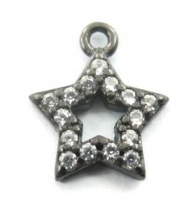 charms ciondolo stella 10x7 mm zirconi bianchi argento 925 rodiato nero 1 pz