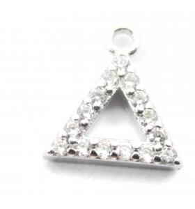 charms ciondolo triangolo 10x9 mm zirconi bianchi argento 925 rodiato 1 pz