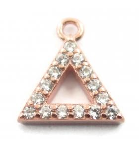 charms ciondolo triangolo 10x8 mm zirconi bianchi argento 925 placcato oro rosè 1 pz