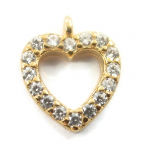 charms ciondolo cuore 10x9 mm zirconi bianchi argento 925 placcato oro giallo 1 pz