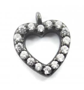 charms ciondolo cuore 10x9 mm zirconi bianchi argento 925 rodiato nero 1 pz