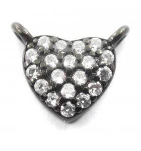 connettore cuore 10x8 mm pavè zirconi bianchi argento 925 rodiato nero 1 pz