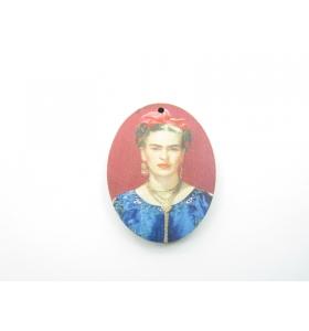 2 basi orecchino serie art Frida Kahlo vestito blu