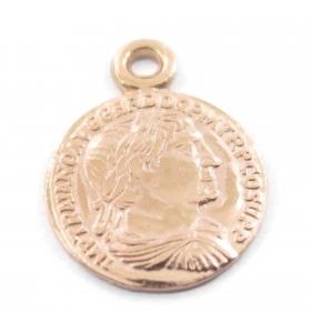 charms ciondolo moneta argento 925 placcato oro rosè di 8 mm 1 pz