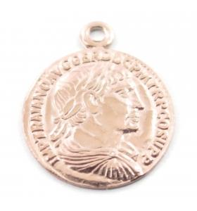 charms ciondolo moneta di 12 mm argento 925 placcato oro rosè 1 pz