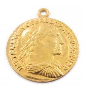 charms ciondolo moneta di 16 mm argento 925 placcato oro giallo 1 pz