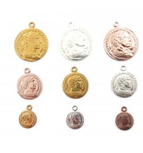charms ciondolo moneta di 16 mm argento 925 placcato oro rosè 1 pz