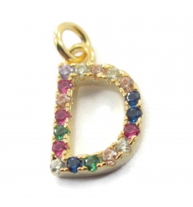 charms lettera D zirconi multi color argento 925 placcato oro giallo
