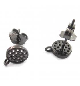 orecchini perno base tonda pavè di zirconi bianchi argento 925 rodiato nero diametro 7 mm 1 paio