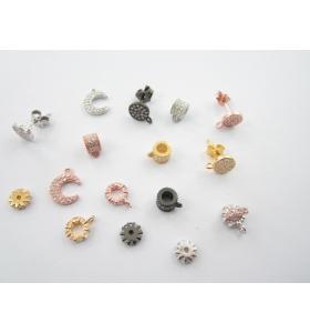 orecchini perno base tonda pavè di zirconi bianchi argento 925 placcato oro giallo diametro 7 mm 1 paio
