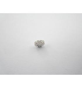 distanziatore rondella con zirconi bianchi argento 925 rodiato 6x2 mm 1pz