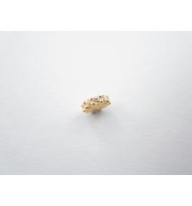 distanziatore rondella con zirconi bianchi argento 925 placcato oro giallo 6x2 mm 1pz