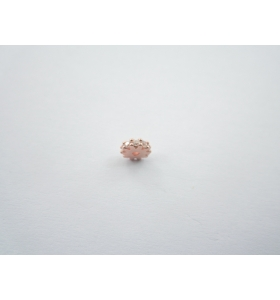 distanziatore rondella con zirconi bianchi argento 925 placcato oro rosè 6x2 mm 1pz