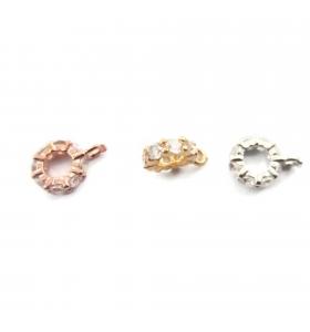 distanziatore rondella anellino saldato con zirconi bianchi argento 925 placcato oro rosè 6,5x2 mm 1pz