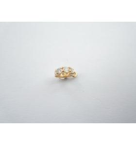 distanziatore rondella anellino saldato con zirconi bianchi argento 925 placcato oro giallo 6,5x2 mm 1pz