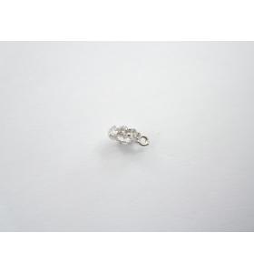 distanziatore rondella anellino saldato con zirconi bianchi argento 925 rodiato 6,5x2 mm 1pz