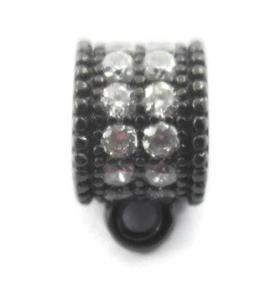 distanziatore rondella anellino saldato con zirconi bianchi argento 925 rodiato nero 6x4,5 mm 1pz