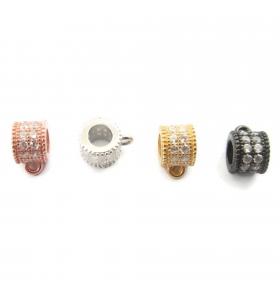 distanziatore rondella anellino saldato con zirconi bianchi argento 925 placcato oro giallo 6x4,5 mm 1pz