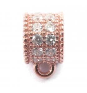 distanziatore rondella anellino saldato con zirconi bianchi argento 925 placcato oro rosè 6x4,5 mm 1pz