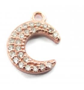 charms ciondolo luna con zirconi bianchi argento 925 placcato oro rosa11x8,5 mm 1 pz