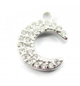 charms ciondolo luna con zirconi bianchi argento 925 rodiato 11x8,5 mm 1 pz