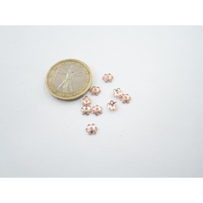 5 coppette fiore copripietra argento plk oro rosè mm 5