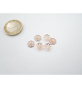 4 coppette fiore traforato copripietra argento plk oro rosè mm 8
