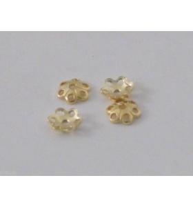 5 coppette fiore copripietra argento plk oro giallo mm 5