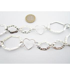 50 cm di catena in alluminio ovali  zigrinati argentati di 20x16 mm maglia aperta