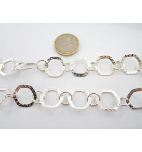 1 metro di catena esagoni color argento effetto martellato