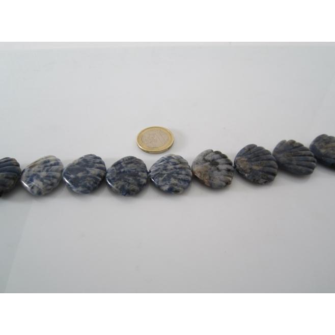 2 pietre di sodalite scolpite a forma di conchiglia