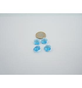 4 fiori in cristallo azzurro con foro
