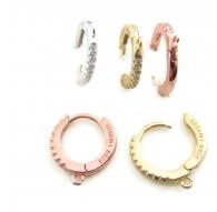 orecchini cerchio zirconi argento 925 placcato oro rosè 12 mm 2 pz.